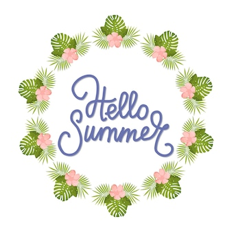 Hallo sommer tropisches design mit palmblättern strandurlaub poster banner