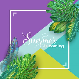 Hallo sommer tropisches design