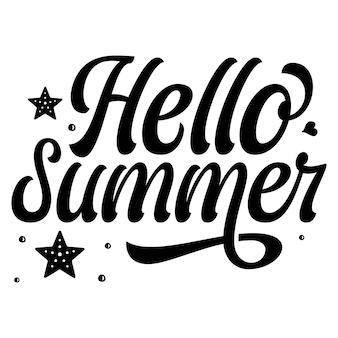 Hallo sommer typografie premium vector design zitatvorlage