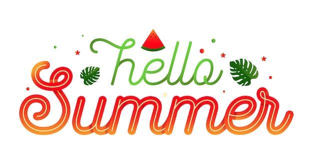 Hallo sommer typografie