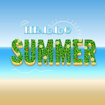 Hallo sommer typografisches design poster auf einem verschwommenen hintergrund mit der sonne, meereswellen.