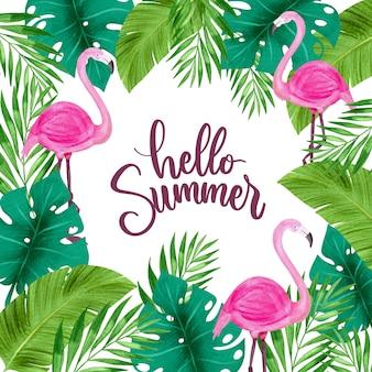 Hallo sommer, umgeben von blättern und flamingo