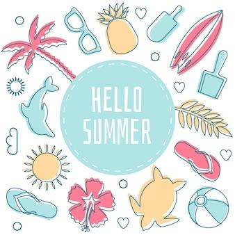 Hallo sommer, umgeben von strandobjekten