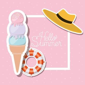 Hallo sommer- und ferienaufkleberentwurf