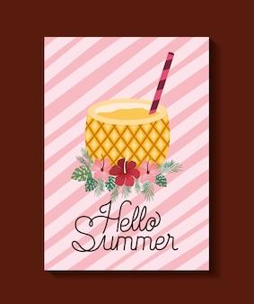 Hallo sommer- und ferienkartendesign