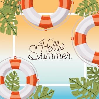 Hallo sommer- und ferienrahmendesign