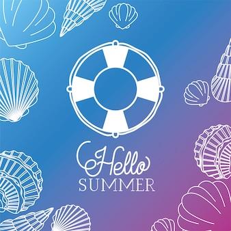 Hallo sommer- und ferienschattenbilddesign