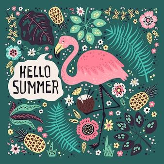 Hallo sommer. vector den netten flamingo, der durch tropische früchte, anlagen und blumen umgeben wird.