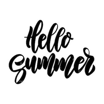 Hallo sommer. vektorbeschriftungsphrase für plakat, grußkarte, postkarte. urlaubskonzept