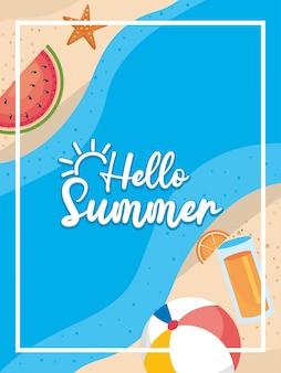 Hallo sommer. wassermelone mit seestern und wasserball mit saftgetränk im strand