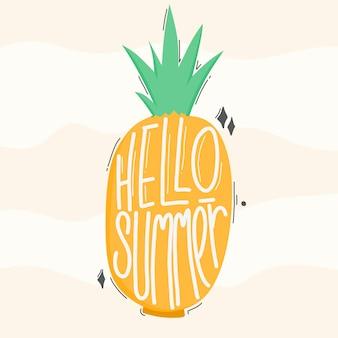 Hallo sommer. zitat typografie schriftzug. handgezeichnete schrift