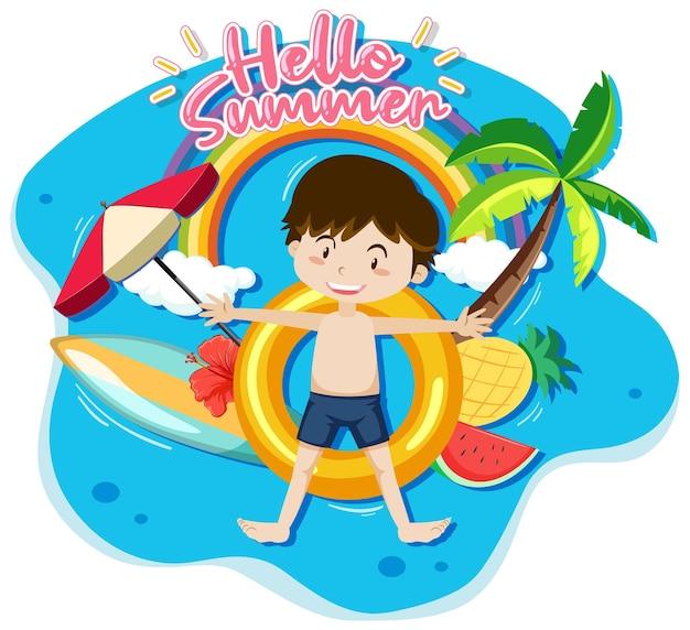 Hallo sommerbanner mit einem jungen, der isoliert auf einem schwimmring liegt