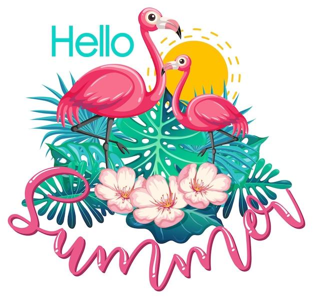 Hallo sommerbanner mit flamingo isoliert