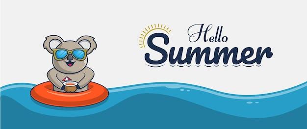 Hallo sommerbanner mit koala-illustrationscharakterdesign