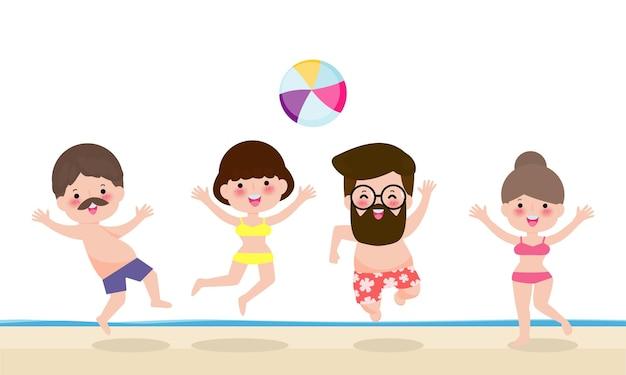 Hallo sommerbanner vorlage gruppe von menschen, die wasservolleyball am strand spielt
