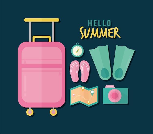 Hallo sommerbeschriftung mit bündel von sommerikonen auf einem dunkelblauen illustrationsentwurf