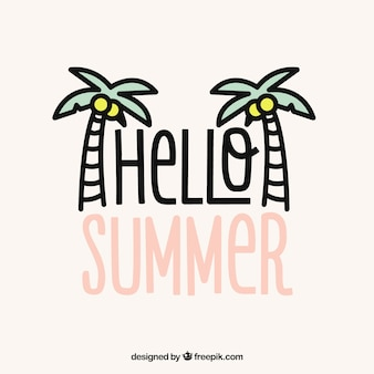 Hallo sommerbeschriftung mit gezeichneten art der palmen in der hand