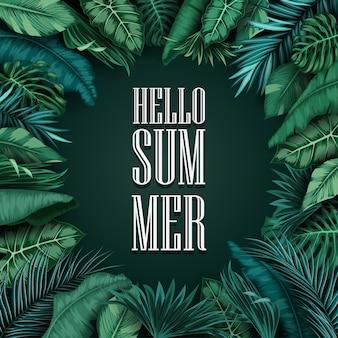 Hallo sommerblätter lokalisiert auf schwarzem hintergrund