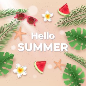 Hallo sommerblätter und wassermelone realistisch