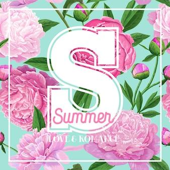 Hallo sommerblumenmuster mit blühenden rosa pfingstrosen-blumen. botanischer hintergrund für poster, banner, hochzeitseinladung, grußkarte. vektor-illustration