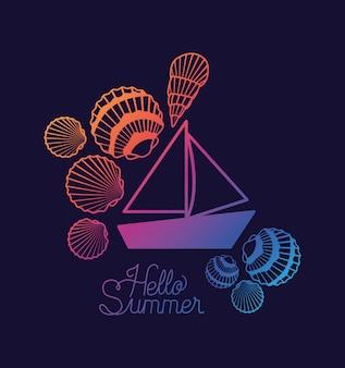 Hallo sommerdesign mit muscheln und boot