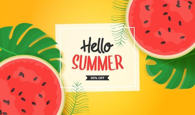Hallo sommerdesign mit tropischen blättern und wassermwlon