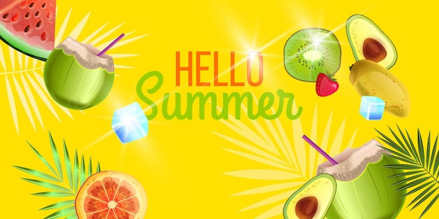 Hallo sommerfahnen-strandpartyhintergrund mit grüner kokos-orangen-kiwi-avocado-wassermelone