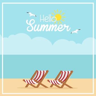 Hallo sommerferien-bestimmungsortillustration design