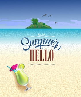Hallo sommergrußkarte mit meer, strand, tropeninsel und kaltem getränk