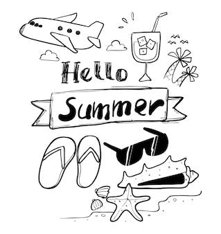 Hallo sommerhand gezeichnet