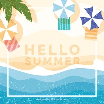 Hallo sommerhintergrund mit draufsicht des strandes