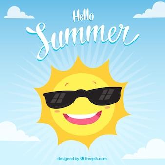 Hallo sommerhintergrund mit lustiger sonne