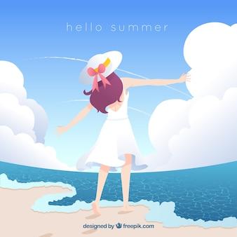 Hallo sommerhintergrund mit nettem mädchen