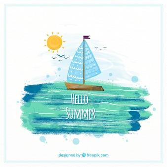 Hallo sommerhintergrund mit segelboot in der aquarellart
