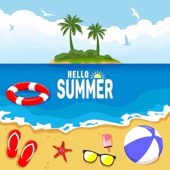 Hallo sommerhintergrund mit strand