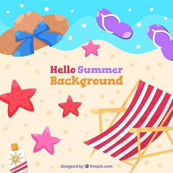 Hallo sommerhintergrund mit strandelementen