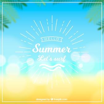 Hallo sommerhintergrund mit unscharfem meer