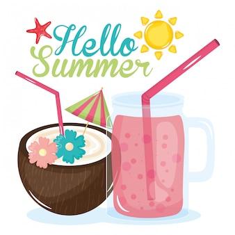 Hallo sommerillustration mit feiertagselementen