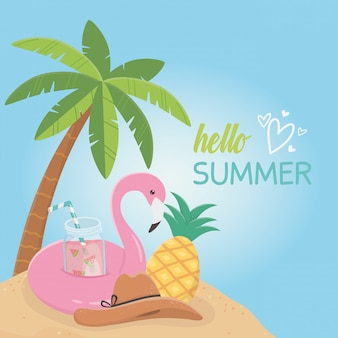 Hallo sommerkarte mit flämischem float