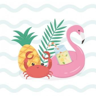 Hallo sommerkarte mit flämischen float icons