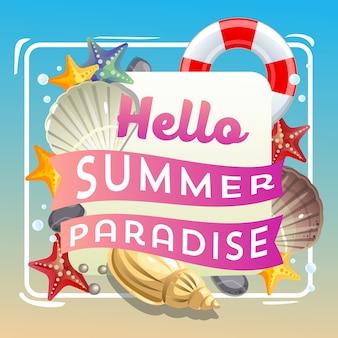 Hallo sommerparadies unter meer thema