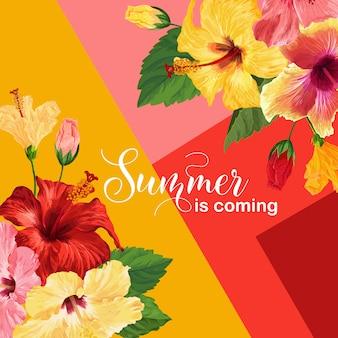 Hallo sommerplakat. blumenmuster mit roten und gelben hibiskus-blumen für t-shirt