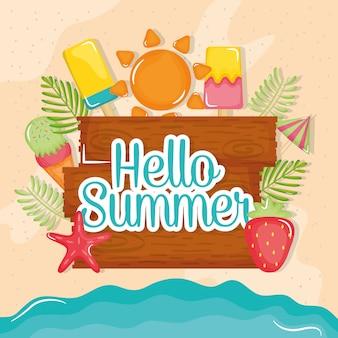 Hallo sommerplakat mit holzetikett und symbole
