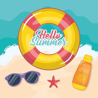 Hallo sommerplakat mit urlaub symbole
