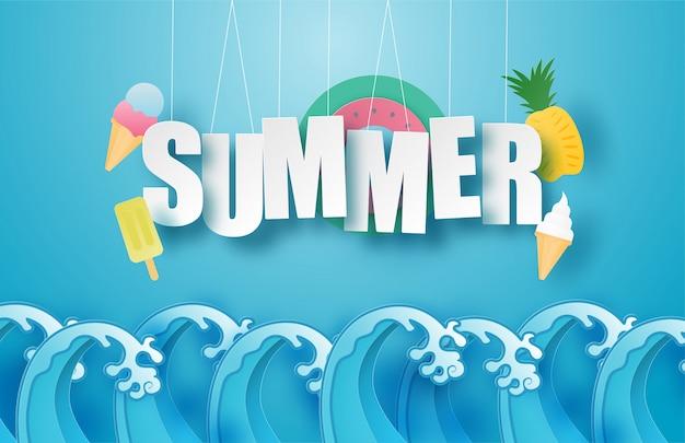 Hallo sommerplakat oder banner mit hängendem text, eiscreme, schwimmring, ananas über meereswelle im papierschnittstil. illustration digitale bastelpapierkunst.