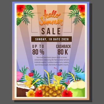 Hallo sommerplakat-schablonenverkauf mit cocktailgetränk-vektorillustration
