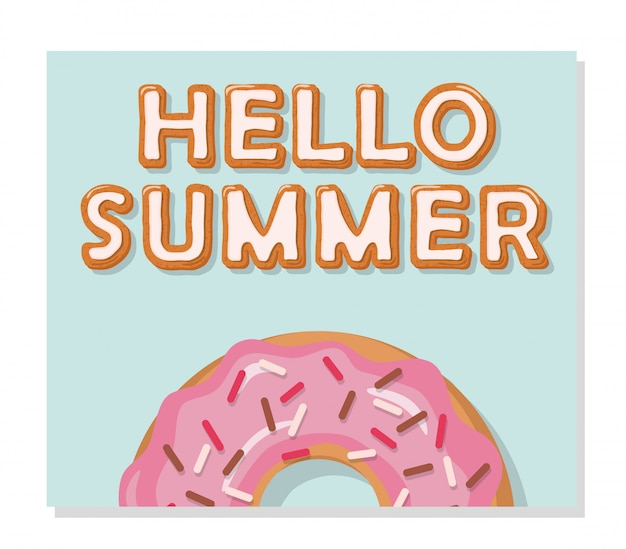 Hallo sommerplakat. süßigkeiten schmelzen.