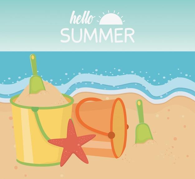 Hallo sommerreise und urlaub sand eimer schaufel seestern strand meer