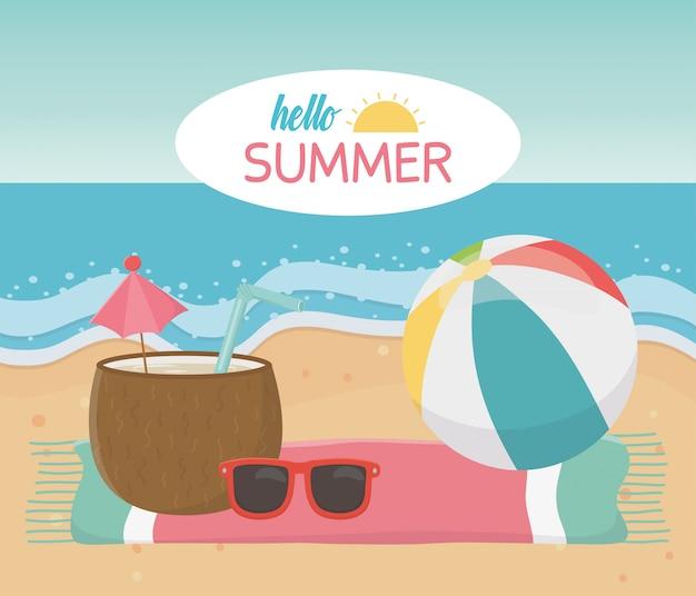 Hallo sommerreise und urlaub strandball kokosnuss cocktail sonnenbrille handtuch in strand meer vektor-illustration