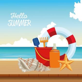 Hallo sommersaison-szene mit rettungsschwimmer und sandkübel
